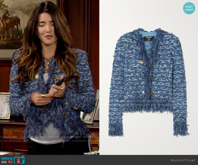 Balmain Button-embellished fringed tweed blazer worn by Steffy Forrester (Jacqueline MacInnes Wood) on The Bold & the Beautiful