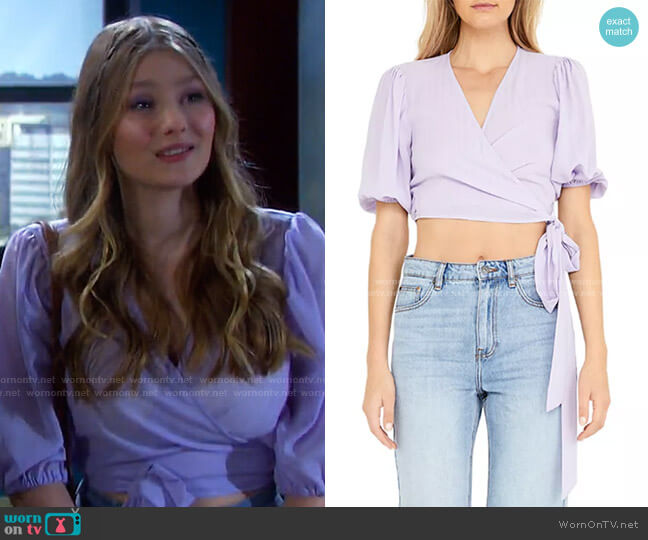 Isabella Cropped Wrap Top by Bardot worn by Alice Caroline Horton (Lindsay Arnold) on Days of our Lives