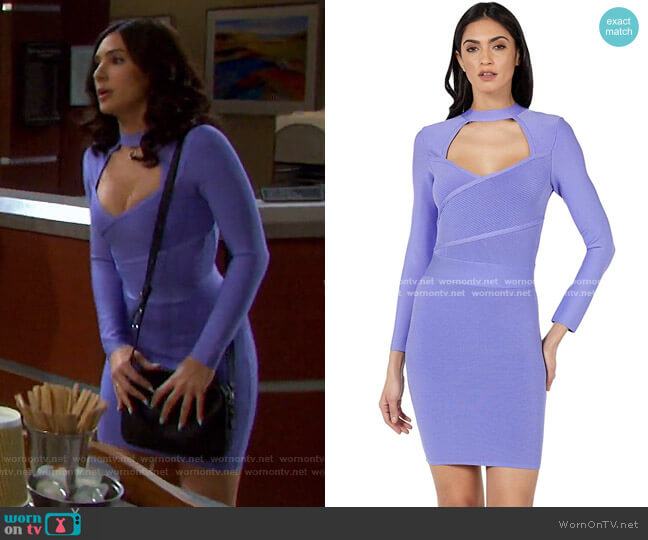 Long Sleeve Surplice Front Bandage Dress by Bebe worn by Gabi Hernandez (Camila Banus) on Days of our Lives