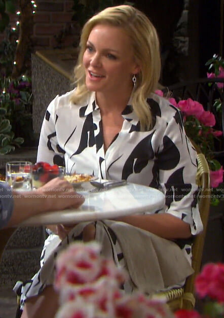 Belle's black and white printed shirtdress on Days of our Lives
