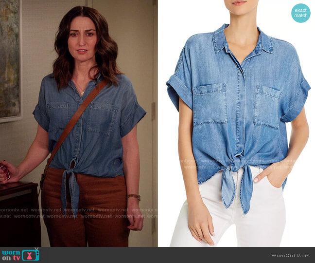 Bella Dahl Tie-Front Chambray Shirt worn by Dawn Solano (Sara Bareilles) on Girls5eva