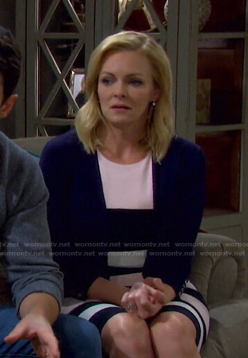 Belle's colorblock dress and button cuff cardigan on Days of our Lives