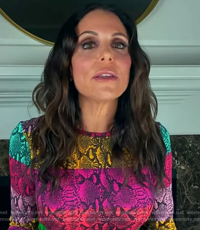 Bethenny Frankel's multicolored snakeskin top on The Kelly Clarkson Show