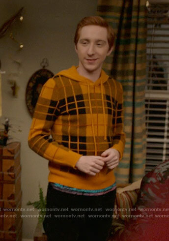 Big Red's yellow plaid hooded sweater on High School Musical The Musical The Series