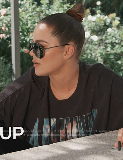 Khloe's black Aaliyah graphic print tee on Keeping Up with the Kardashians