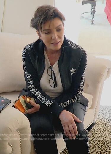 Kris's black Adidas jacket on Keeping Up with the Kardashians