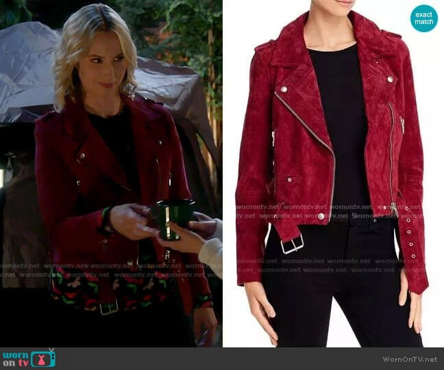 Blank NYC Suede Moto Jacket in Rich Berry  worn by Mandy Baxter (Molly McCook) on Last Man Standing