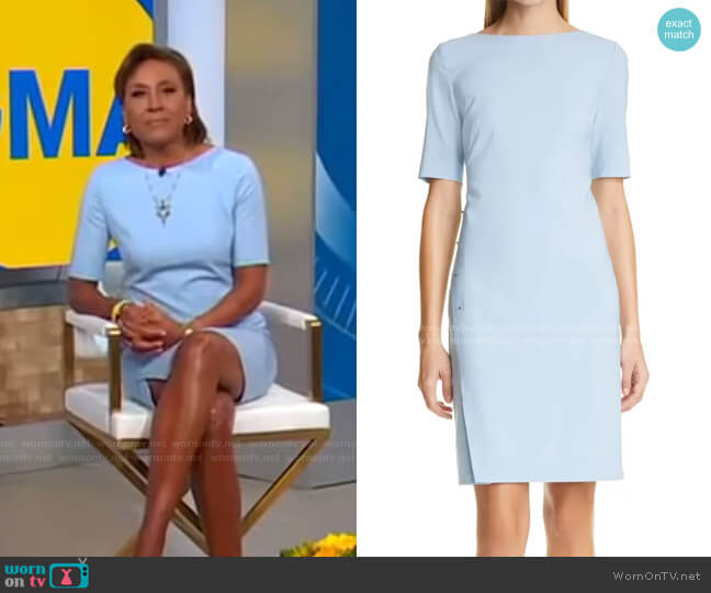 Diwoma Studded Wool Blend Sheath Dress by Boss worn by Robin Roberts  on Good Morning America