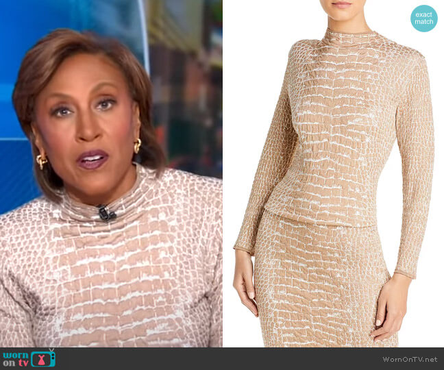 Fabricia Croc Print Top by Boss worn by Robin Roberts  on Good Morning America