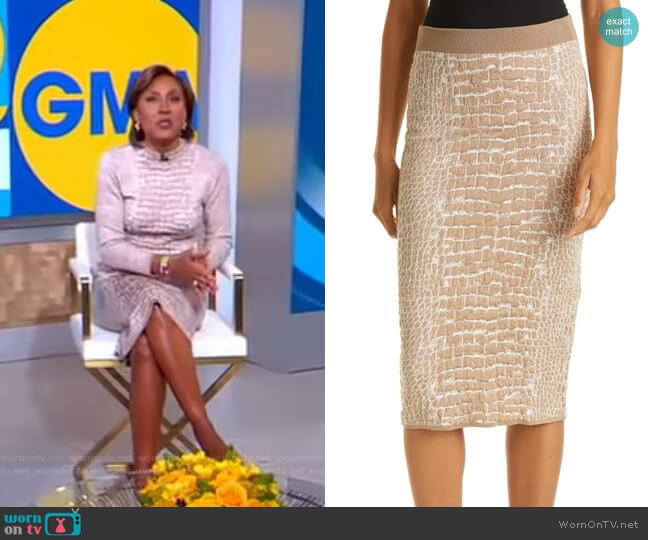 Frannia Knit Skirt by Boss worn by Robin Roberts  on Good Morning America