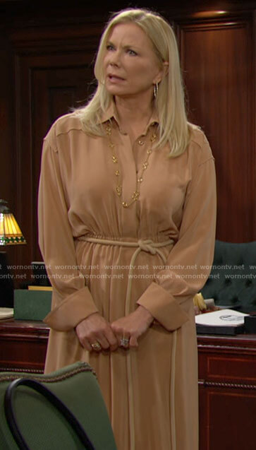 Brooke's beige shirtdress with rope belt on The Bold and the Beautiful