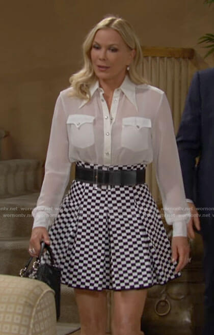 Brooke's checkerboard skirt and white blouse on The Bold and the Beautiful