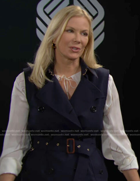Brooke's navy trench dress and white floral blouse on The Bold and the Beautiful