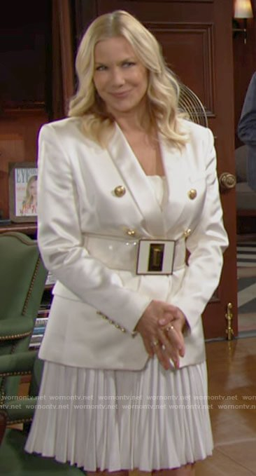 Brooke's white satin double breasted blazer and clear belt on The Bold and the Beautiful