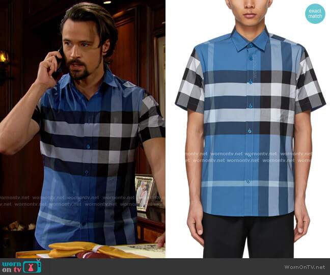 Burberry Blue Stretch Poplin Check Short Sleeve Shirt worn by Thomas on The Bold and the Beautiful