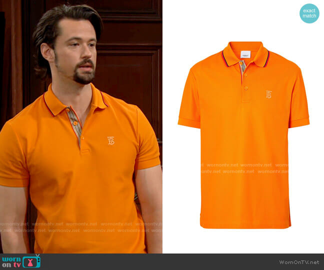 Burberry embroidered-logo polo shirt worn by Thomas on The Bold and the Beautiful