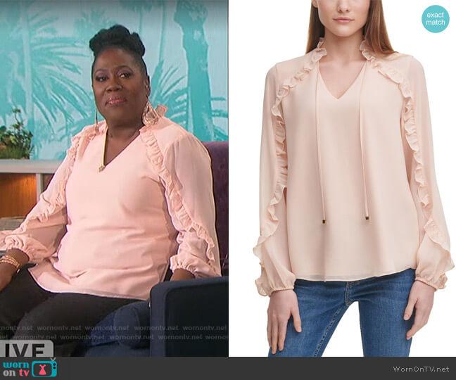 Ruffled Sheer-Sleeve Top by Calvin Klein worn by Sheryl Underwood  on The Talk