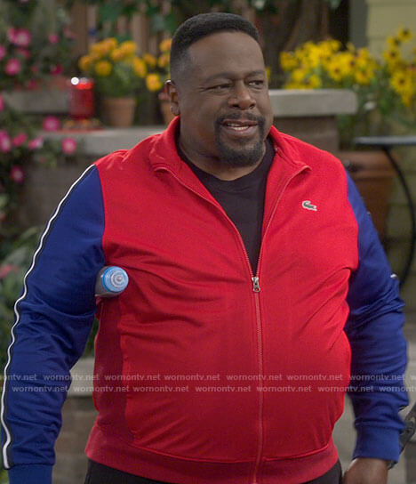 Calvin's red and blue track jacket on The Neighborhood