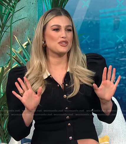 Carissa's black contrast collar shirtdress on E! News Daily Pop