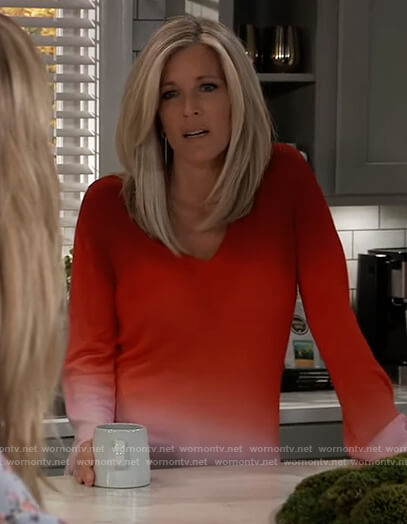 Carly's red ombre sweater on General Hospital