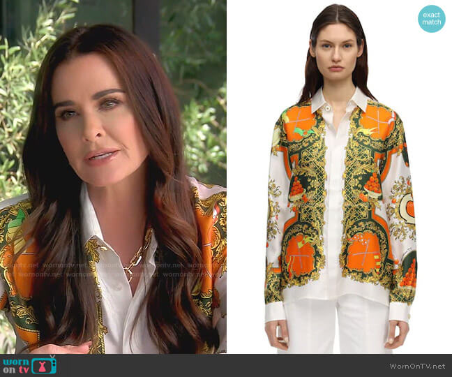 Les Parfums Print Silk Shirt by Casablanca worn by Kyle Richards  on The Real Housewives of Beverly Hills