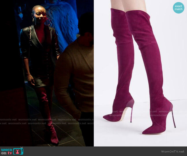 Casadei Blade Over the Knee Boots worn by Ella McFair (Andrea Bordeaux) on Run the World