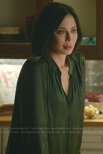 Cassie's green v-neck blouse on Good Witch