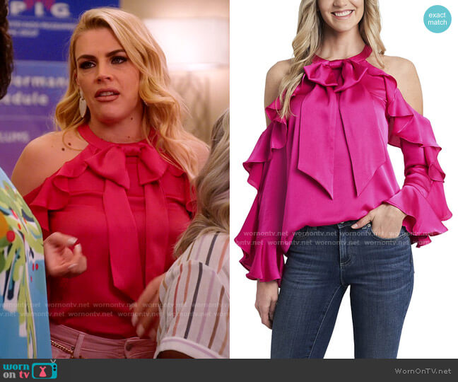 CeCe Long Sleeve Cold Shoulder Ruffled Blouse  worn by Summer Dutkowsky (Busy Philipps) on Girls5eva