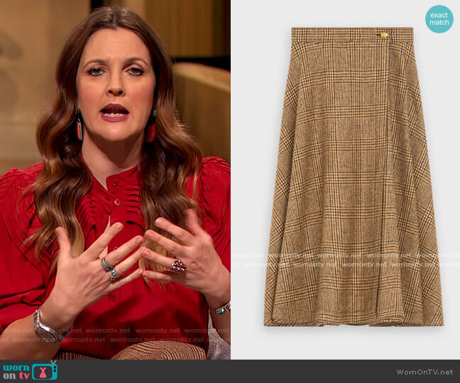 70's check midi skirt by Celine worn by Drew Barrymore  on The Drew Barrymore Show