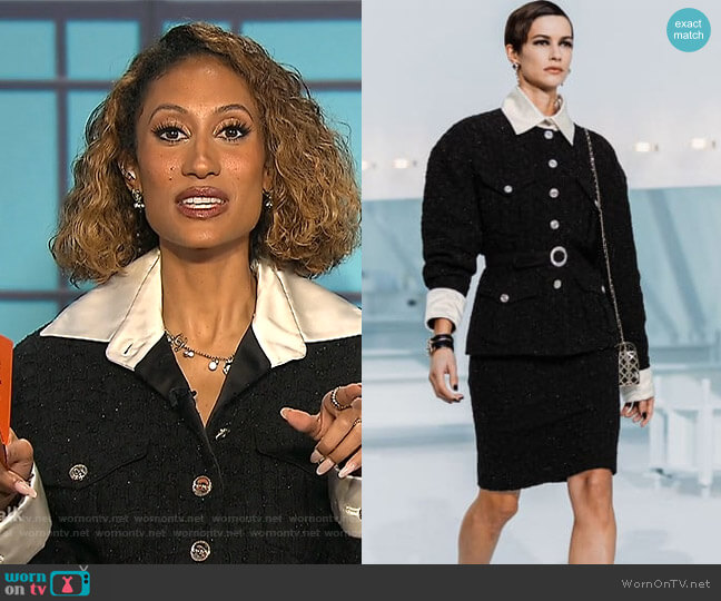 Iridescent Tweed by Chanel worn by Elaine Welteroth  on The Talk
