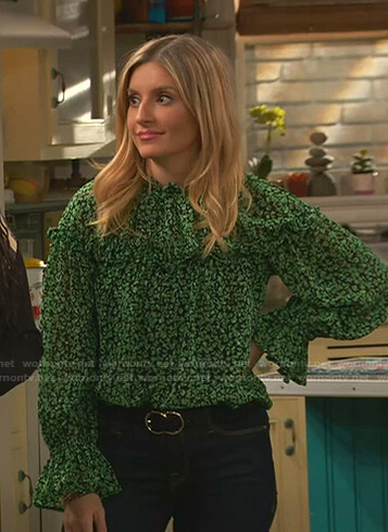 Chelsea's green floral blouse on Ravens Home