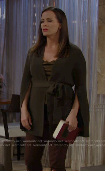 Chelsea's green split sleeve cardigan on The Young and the Restless