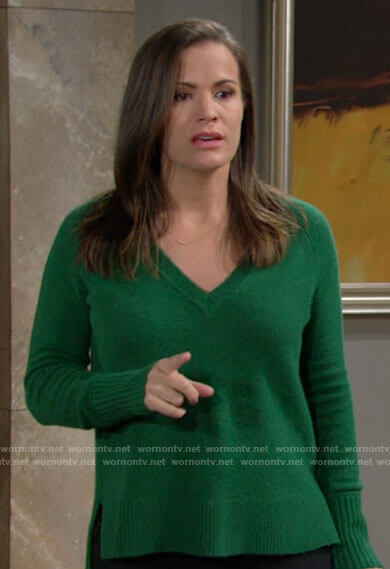Chelsea's green v-neck sweater on The Young and the Restless