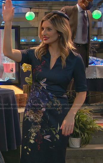 Chelsea's navy floral sheath dress on Ravens Home