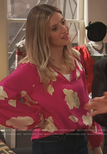 Chelsea's pink floral blouse on Ravens Home