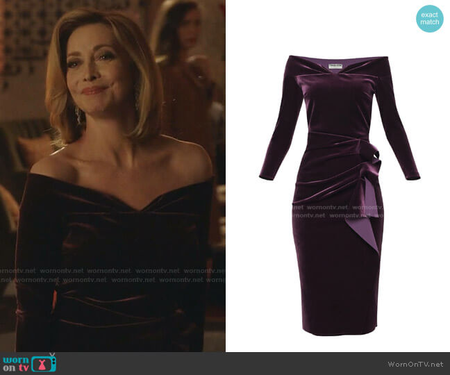Velvet Dress by Chiara Boni La Petite Robe worn by Laura Van Kirk (Sharon Lawrence) on Dynasty