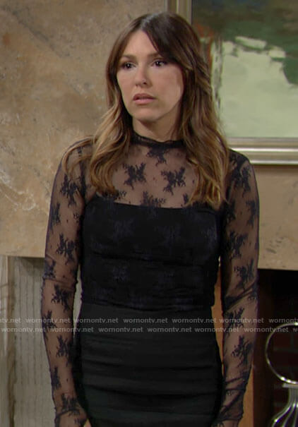 Chloe's black lace mesh top on The Young and the Restless