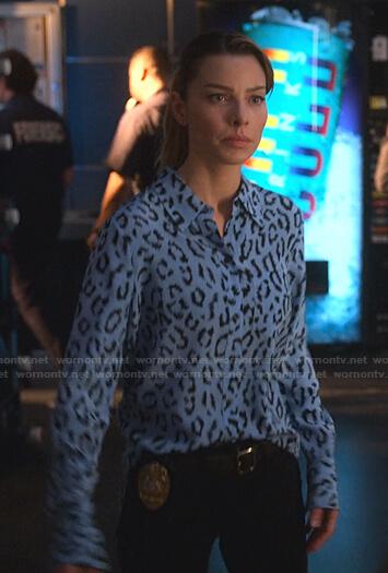Chloe's blue leopard print shirt on Lucifer