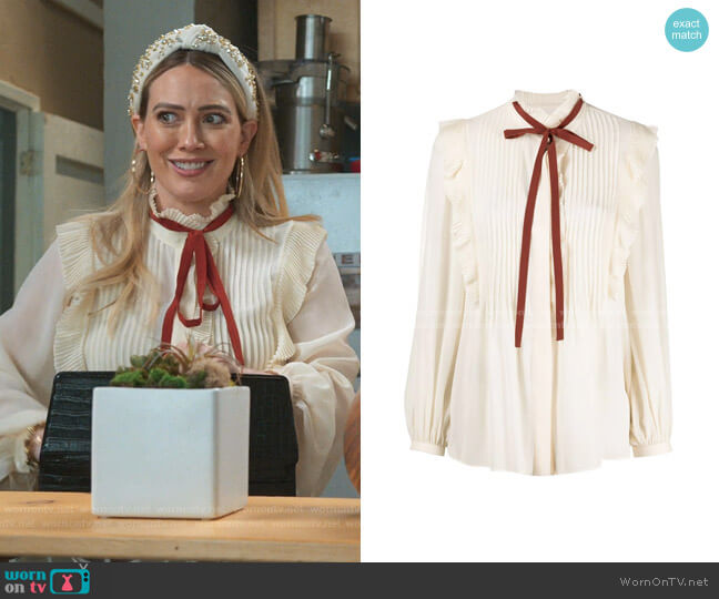 Ruffle-Trim Silk Blouse by Chloe worn by Kelsey Peters (Hilary Duff) on Younger
