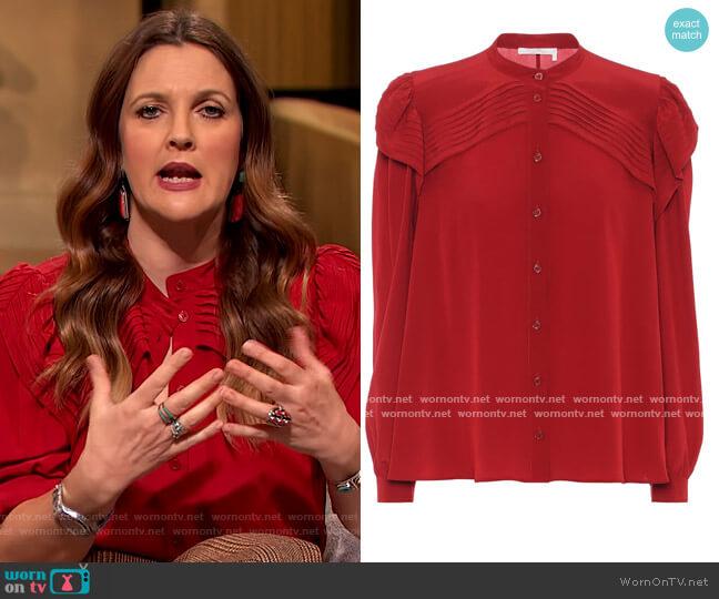 Silk shirt by Chloe worn by Drew Barrymore  on The Drew Barrymore Show