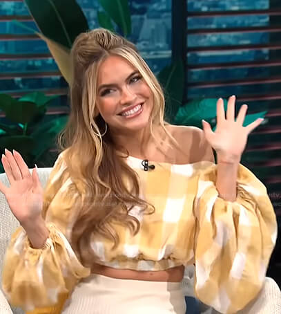 Chrishell Stause's yellow gingham cropped top on E! News Daily Pop