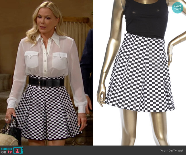 Christian Dior Checkered Skirt Suit worn by Brooke Logan (Katherine Kelly Lang) on The Bold & the Beautiful