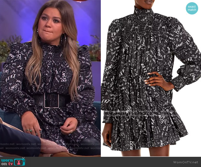 Love Note Rika Dress by Cinq a Sept worn by Kelly Clarkson  on The Kelly Clarkson Show