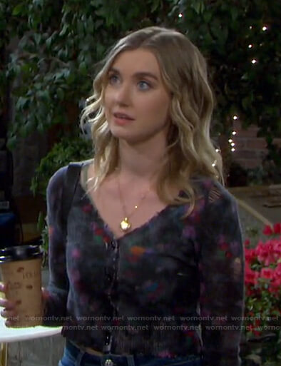 Claire's floral cropped cardigan on Days of our Lives