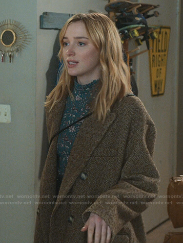 Clare's green floral top and brown herringbone coat on Younger
