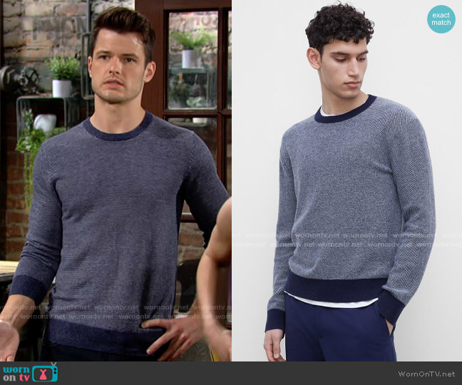 Club Monaco Cashmere Lounge Crewneck Sweater worn by Kyle Abbott (Michael Mealor) on The Young & the Restless