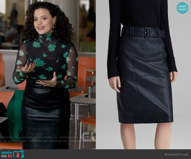 Club Monaco Faux-Leather Belted Skirt worn by Maggie Vera (Sarah Jeffery) on Charmed