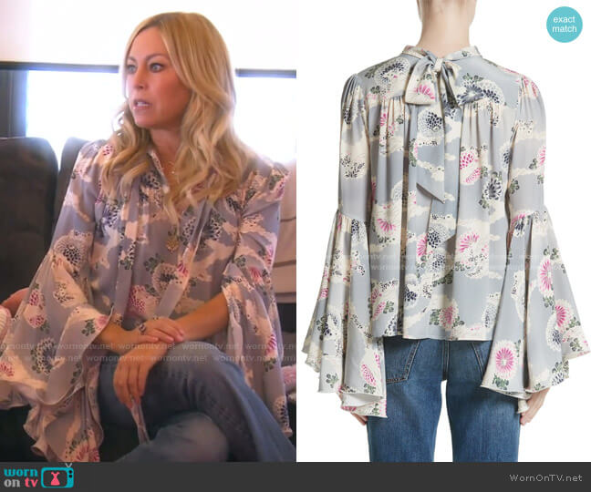 Flutter Sleeve Floral Print Silk Blouse by Co worn by Sutton Stracke  on The Real Housewives of Beverly Hills