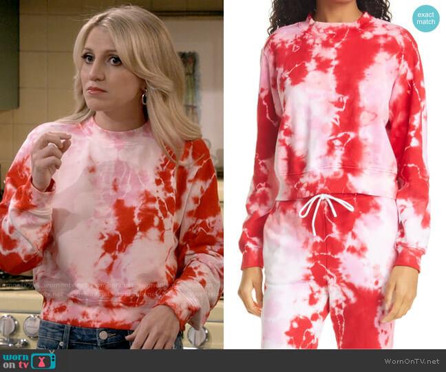 Cotton Citizen Milan Tie Dye Crop Sweatshirt worn by Gina Dabrowski (Annaleigh Ashford) on B Positive