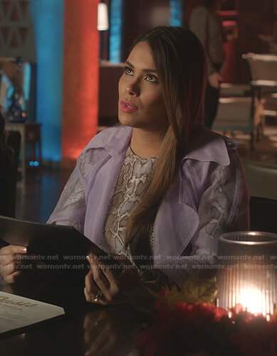 Cristal's lilac mesh trench coat on Dynasty
